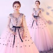 Pink grey cape wedding prom ball gown RB0547