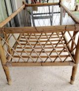 Vintage Glass Top Rattan Coffee Table (Reduced)