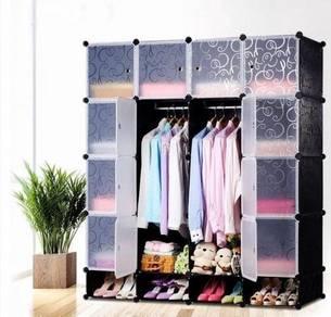 Black Stripe 16 Cube Wardrobe With Twin Hangers