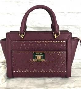 Michael Kors TINA Small TZ Messenger Plum Leather