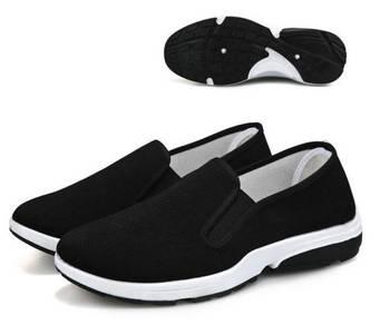 F0269 Black Breathable Slip On Loafers Kasut Shoes