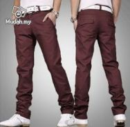 Korean K10 Men Straight Cut Trousers Pants (Red)
