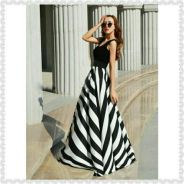 A-Line Stripe Maxi Tank Dress (KR090344)