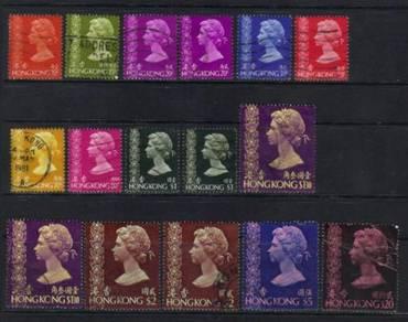 HONG KONG QEII 1973-1974 16USED MIN CAT £30 Bk442