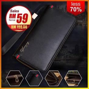 Premium Zipper PU Leather Long Wallet