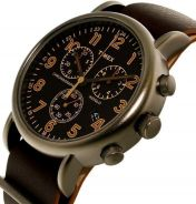 Timex watch chrono Weekender Brown leather