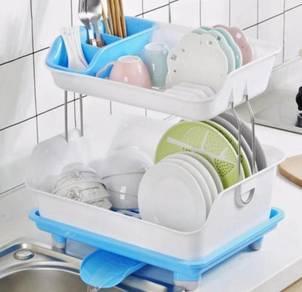 2 Layer Dish & Utensils Rack