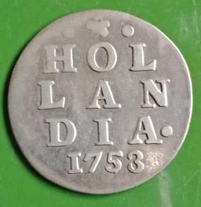 Duit Syiling Hol Lan Dia 2 Stuiver 1753