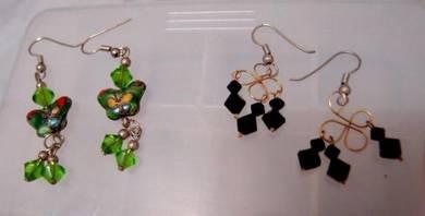 Vintage Enamel And Rhinestone Earrings (2 Sets)