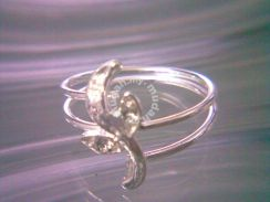 ABRSM-L012 Lovely Cute Silver Leaf Crystal Ring S8