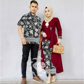 Muslimah Harum set couple batik dress long sleeve