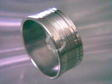 ABRSS-U003 Silver Over Wide Unique Style Ring Sz10