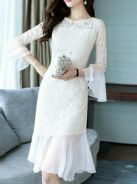 Lace Trumpet Sleeve Mesh Dress F1