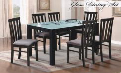 Glass Dining Set 1+6 with Cushion Seat