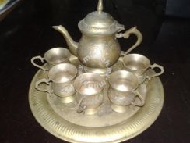 Teko tembaga antique bronze brass tea pot tray cup