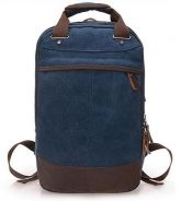 Retro Square Dual-Use Notebook Bag Backpack (Blue)