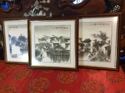 Chinese ink vintage painting signed framed 3pc SLG