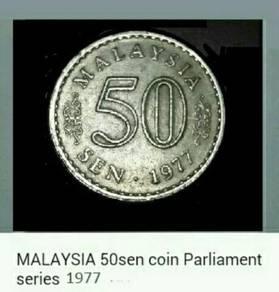 Duit syiling 1977 Parliamen 50 sen