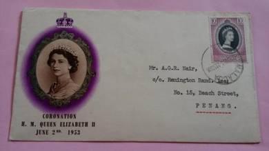 FDC MALACCA Coronation 1953 No 1300