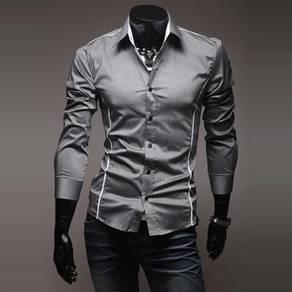 [52] Plain Line 3 Color Long Sleeved Shirt (Grey)