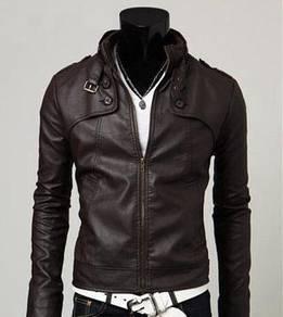 (352) Korea Dark Brown Stand Collar Leather Jacket