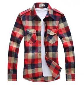 (517A) Colorful Plaid Slim-Fit Long-Sleeved Shirt