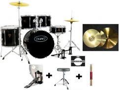 Tjw solid acoustic drum with cymbals set (bk)