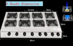 Gas cooker with multi heads