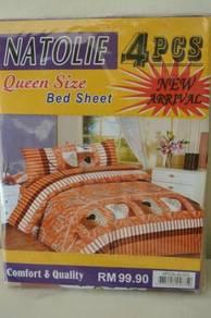 Set Cadar & Sarung Bantal Natolie (Brown Orange)