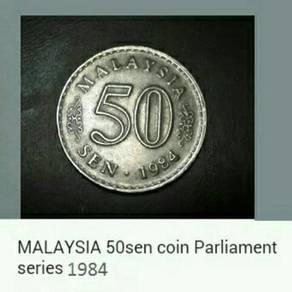 Duit syiling 1984 Parliamen 50 sen