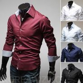 [56] Plain Plaid 5 Color Long Sleeve Shirt (Red)