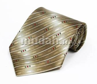 Et193a Hand Made Men Formal Brown Striped Neck Tie
