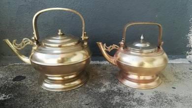 Ber1 Antique Brass Teapot Kendi Tembaga Antik Rare