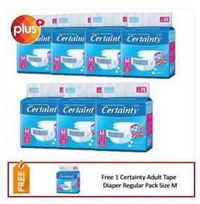 8 x Certainty Adult Diaper Regular Tape Pack M10