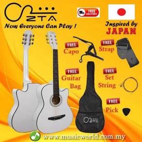Zta 38 inch acoustic guitar white cutaway starter