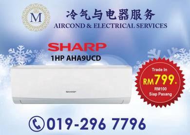 BIG SALE Brand New SHARP 1.0hp Aircond 799