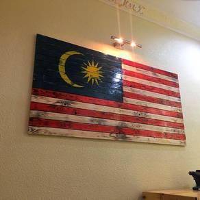 Wooden Malaysian Flag Bendera Malaysia On Wood