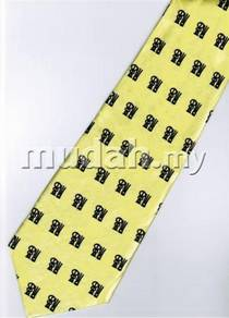 Chinese Calligraphy Fu Good Luck Yellow Neck Tie