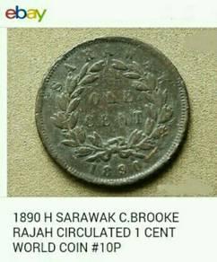 Duit syiling 1890 Sarawak Rajah Brooke - 1 sen
