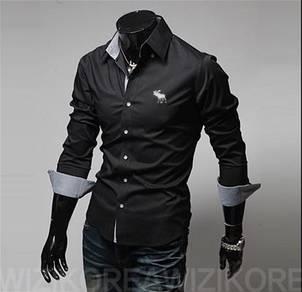 [55] Plain Elk 5 Colors Long Sleeved Shirt (Black)