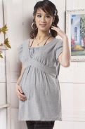 Feminine short sleeves maternity + nursing blouse