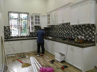 Kabinet dapur kayu solid nyatoh