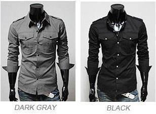 (5115) Army Style Black Grey Long-Sleeved Shirt
