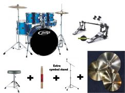 Pdp z5 with 4 piece complete cymbals & twin pedal