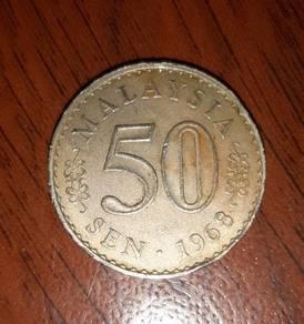Duit Syiling 50 Sen Tahun 1968