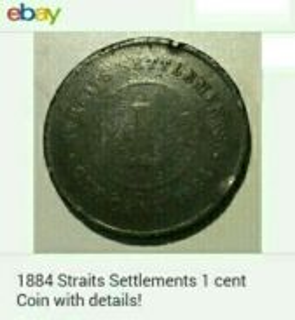 Duit syiling 1884 Straits Settlements 1 cent.
