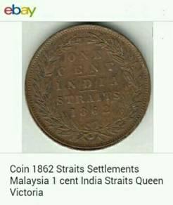 Duit syiling 1862 Straits Settlements 1 cent.