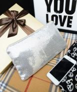 Shiny clutch bag - silver