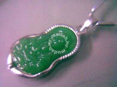 ABPJ-Q002 Green Jade Silver Quan Yin Amulet Neckla