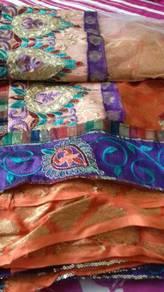 Net sari colour purple n ornge